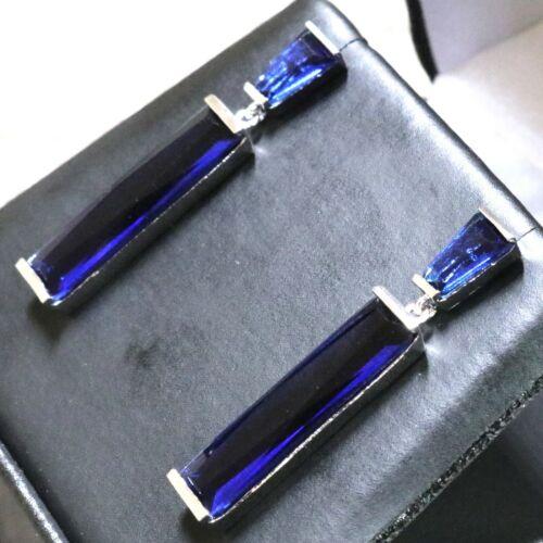 Long Drop Dangle Boucles d/'oreilles saphir bleu Mariage Bijoux Femmes 14K plaqué or