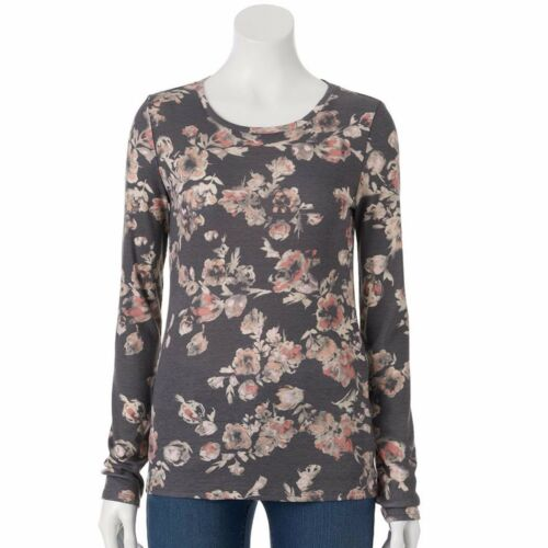 Sonoma Everyday Tee Floral Crew Top Long Sleeve Womens Size S M L XL NEW $18