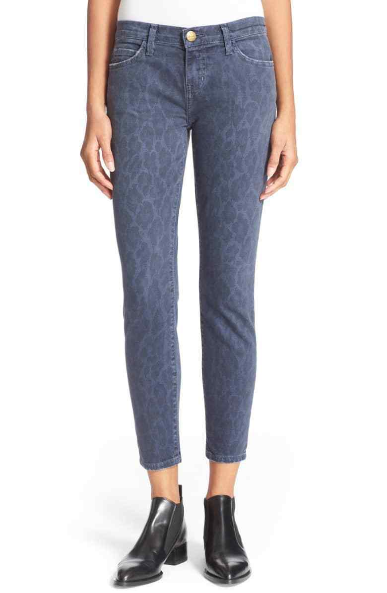 NWT- Current Elliott Stiletto Cropped Skinny Jean, Oil Spill Painted Leopard- 26