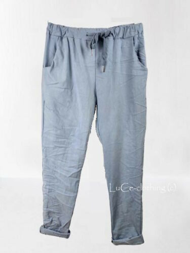 NEW Womens Plain Italian Lagenlook Joggers Stretch Magic Soft Touch Trousers
