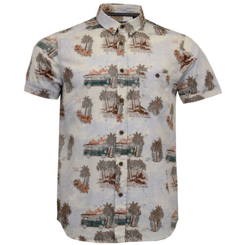 Mens Hawaii Cotton Shirt Brave Soul Pineapple Palm Tree Printed Short Sleeved