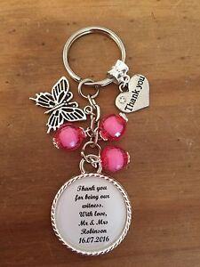 Mariage-Temoin-merci-Porte-cles-Cadeau-Souvenir-toute-formulation-Toute-Couleur-Perles