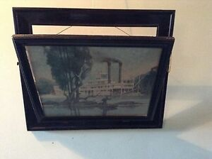 Image Is Loading Antique Wall Hanging Picture Frame Magazine Rack Steam