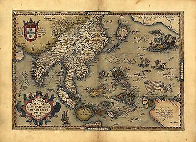 Abraham Ortelius Japón Asia India Pakistán Reproducción Antiguo Viejo Color Mapa