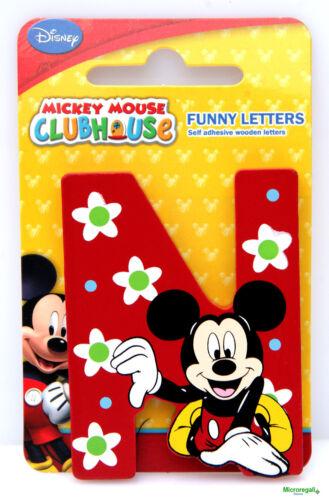 Lettera N DISNEY TOPOLINO Mickey in Legno cm 8x0,7 con adesivo Cameretta bambini