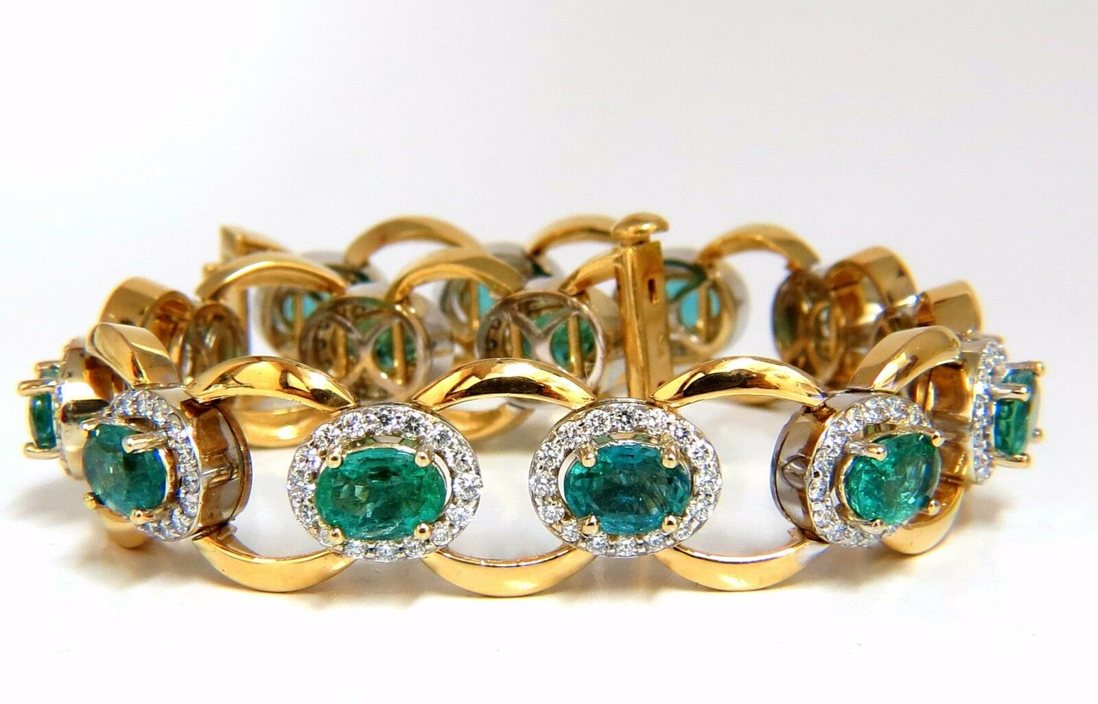 15c5b7733 13.10ct vivid green natural emerald diamonds cluster link bracelet 14kt  Bright odycxt1816-Gemstone