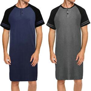 c2e0ca835c Das Bild wird geladen Herren-Kurzarmshirt-Pajama-Nachthemd -Nachtwaesche-Kurta-Pyjama-Lange-