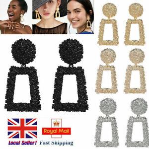 UK Fashion Square Large Geometric Earrings Gold Silver Black Metal Dangle Trendy