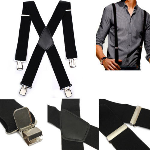 Heavy Duty Unisex Plain Braces Suspender Elastic Wide Durable Trouser 50mm 35mm