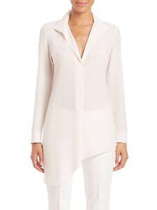 97a68135d6cf7 NEW Akris punto Silk Crepe Asymmetrical Tunic Blouse in Ivory - Size ...