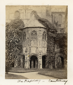 100% De Qualité Angleterre, Canterbury, Le Baptistaire De La Cathédrale, 1871, Vintage Albumen P