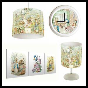 Details about PETER RABBIT Bedroom Nursery Bundle Lampshade, Lamp, Clock, Canvas Prints