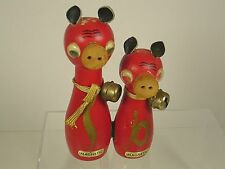 Vintage Magnetic Red Cow Salt and Pepper Shakers Wood Japan