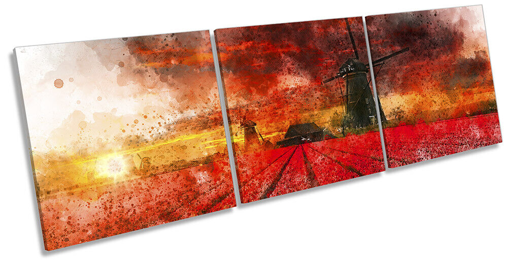 Windmill Landscape Abstract Bild CANVAS Wand Kunst Triple Drucken rot