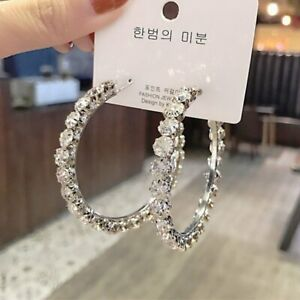 Gorgeous-925-Silver-Crystal-Hoop-Earrings-Drop-Dangle-Women-Jewelry-A-Pair-set