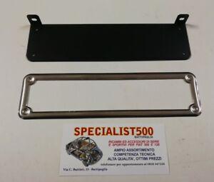 CORNICE-TARGA-ANT-FIAT-500-D-F-L-R-600-ACCIAIO-INOX-SUPPORTO-ZINCATO