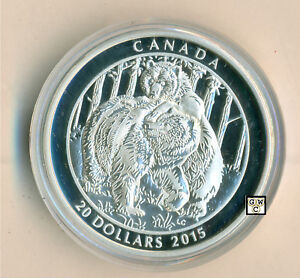 Togetherness 1oz silver coin 2015 $20 Grizzly Bear