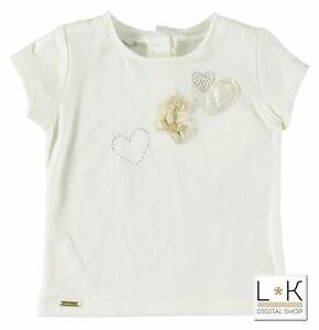 T-shirt-Con-strass-Panna-Bambina-Sarabanda-U211