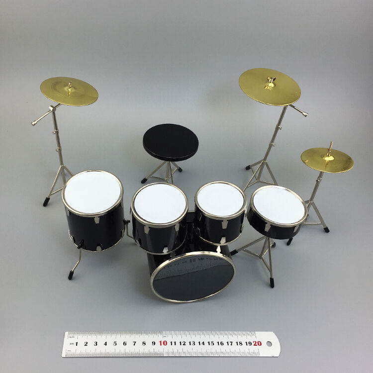 1/6 Escala Kit De Tambor Drum Set Negro Paquete de instrumentos musicales