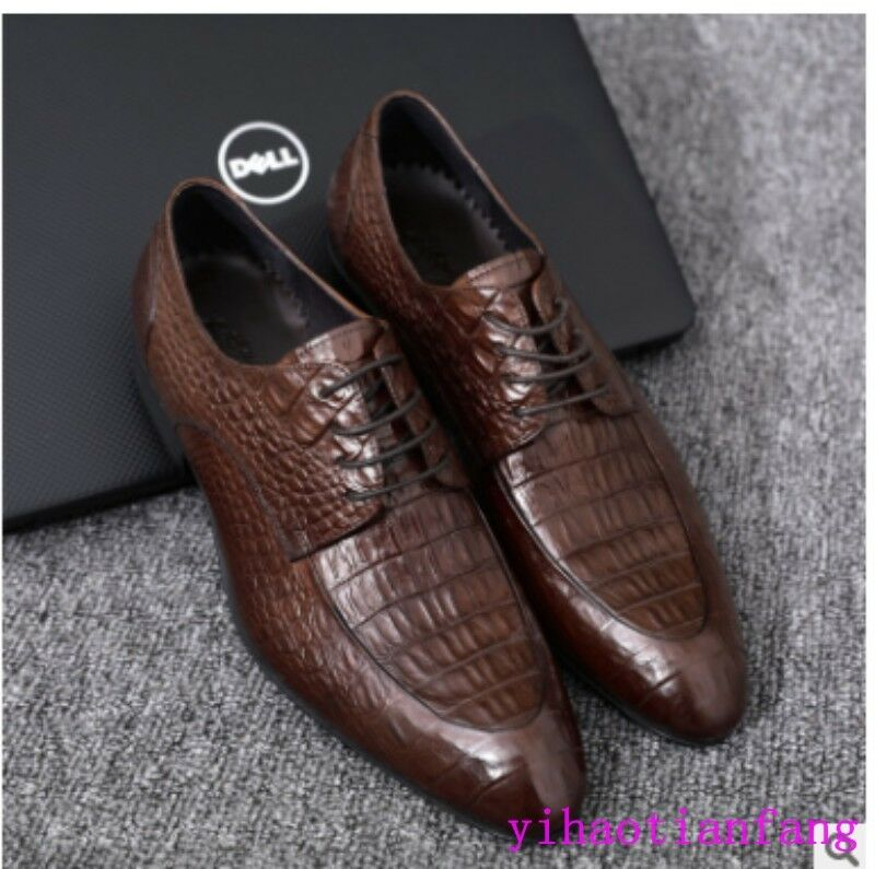 2018 New Fashion Crocodile Round Toe Snakeskin Dress Formal shoes Lace up Loafer