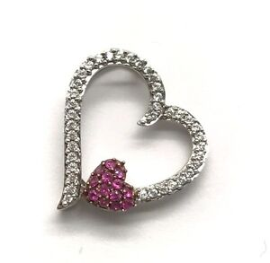 CZ Pave Love Pendant Necklace Sterling Silver 925 Heart Float Pink Tourmaline