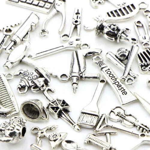 65pcs Mix Tibetan Silver Pendants Charms Spacer Beads DIY Jewelry Making Craft #