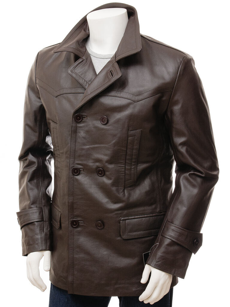 Mens Leather Trench Coat Brown Pure Lambskin Over Coat Size XS S M L XL XXL