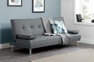 Sofa Bed Settee Grey Fabric Shabby Chic