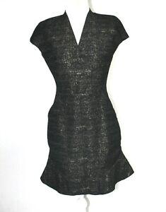 Scanlan-amp-Theodore-Size-12-Black-Cap-Sleeve-Surplice-Neckline-Dress