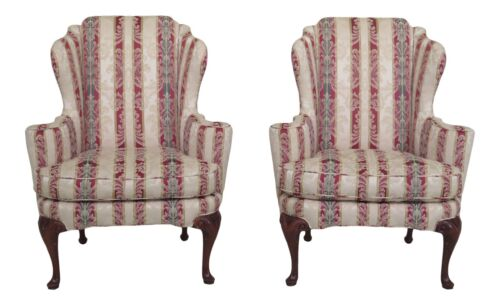 25695EC:Pair BAKER Historic Charleston Collection Damask Upholstered Wing Chairs