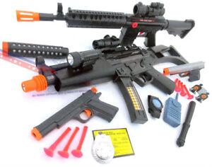 Military Soldier Dual M-16 Dart Rifles with Orange Safety Darts Set Toy Guns