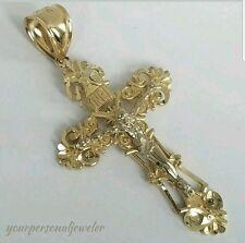14k two tone crucifix pendant c4374 ebay big inri two tone 14k gold jesus crucifix cross pendant 2 inch long aloadofball Gallery
