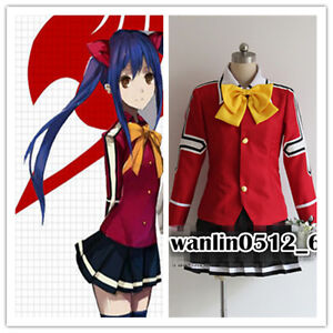 New Anime Fairy Tail Wendy Marvell Uniform Cosplay Costume Dress