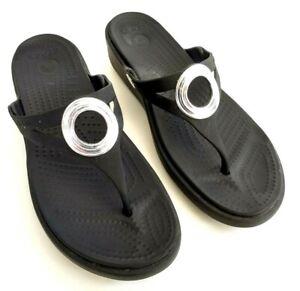 Crocs-Sanrah-Wedge-Thong-Sandals-Womens-Size-9-Black-Slides-Flip-Flops-Slippers
