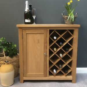 Image Is Loading Oak Wine Cabinet Rack With Cupboard Solid