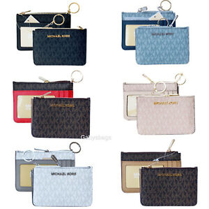Details about Michael Kors Jet Set Travel Small Top Zip Coin Pouch ID Holder Key Ring Wallet