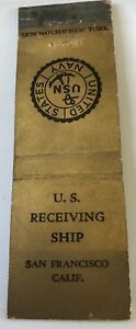 Old-Matchbook-Cover-United-States-Navy-U-S-Receiving-Ship-San-Francisco-CA