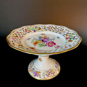 Schumann-Bavaria-Chateau-Dresden-Flowers-Reticulated-Compote-Tazza-4-75-Hx7-5W