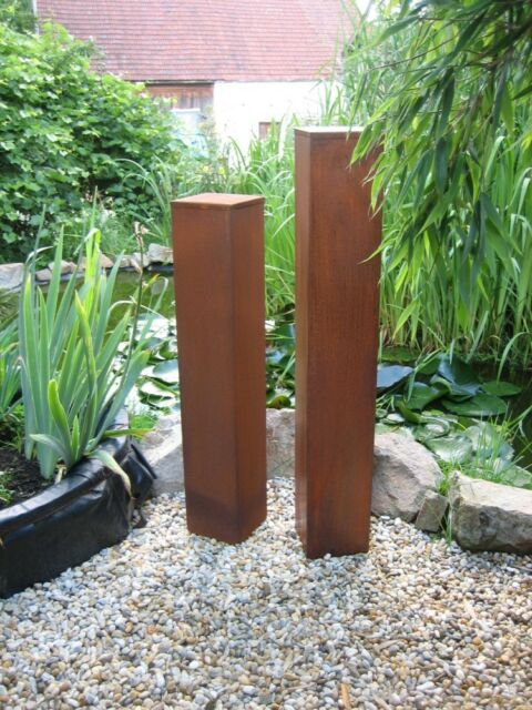 2 Säulen Set Familie Twin  Edelrost Rost Deko Metall Gartendeko  Säule Rost