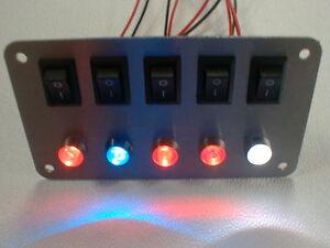 Schalterpanel 5x Ein-Aus Schalter + 5 LED nach Wahl Edelstahlblende matt NEU