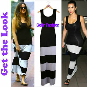 NEW-WOMENS-STRIPE-BLOCK-PANEL-MAXI-BODYCON-DRESS-BLACK-GREY-UK-8-10-12-14