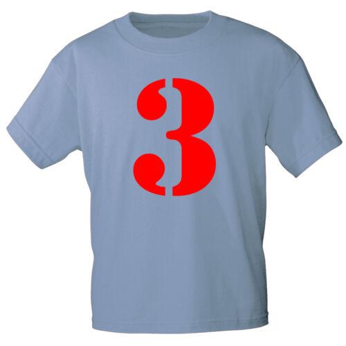 Marken Kinder T-Shirt 110-116 122-128 134-146 152-164 Zahl 3 85155 hellblau