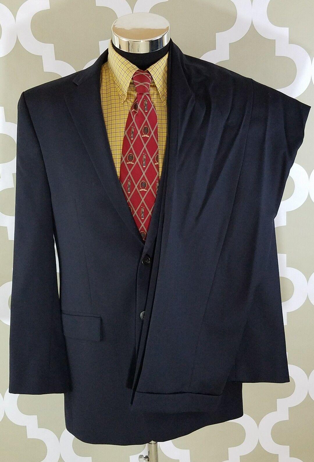 Lauren Ralph Wool Lauren Navy Suit 100% Wool Ralph 2 Button Blazer Größe 40 L, 34×32 Pants 862511