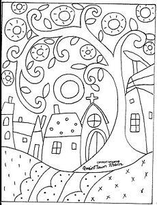 Rug Hooking Craft Paper Pattern QUAINT TOWN Folk Art Primitive Karla Gerard
