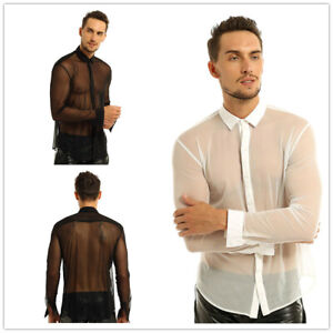 Da-Uomo-Manica-Lunga-Muscolo-Mesh-Top-Shirt-balza-T-Shirt-Clubwear-palestra-sport-soft