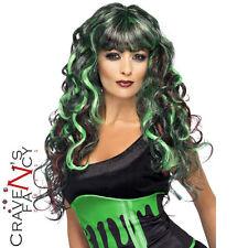 Sangue Drip Sirena Parrucca Nero e Verde Signore lunga parrucca riccia HALLOWEEN FANCY DRESS