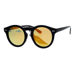 Unisex-Fashion-Sunglasses-Black-Round-Keyhole-Horn-Rim-Mirror-Lens-UV-400