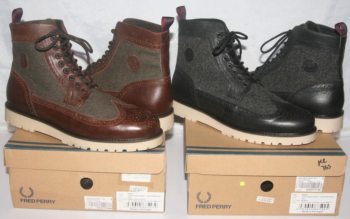 Frosso PERRY BNWB Northgate Mens Leather stivali caviglia CALATA LANA TAGLIA  11