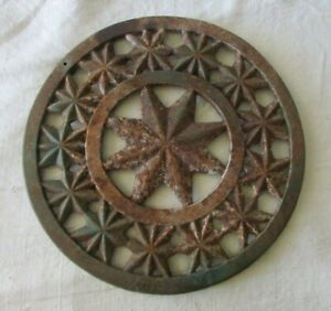 Large-Heavy-Iron-Antique-French-Gate-Decoration-or-Trivet-with-Star-Pattern