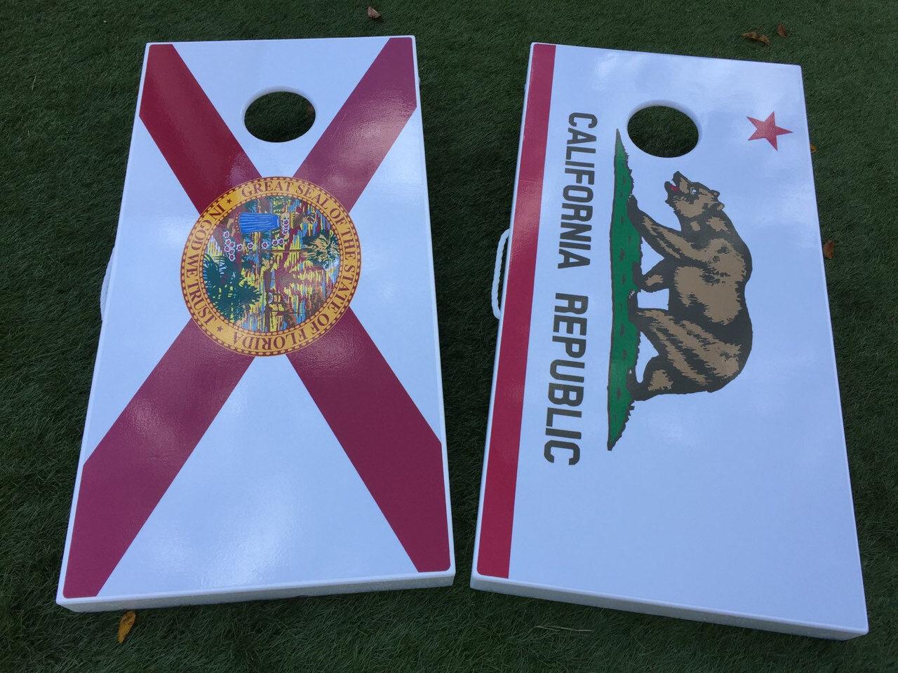 Florida State Outline with Flag Overlay Custom Cornhole Board Set